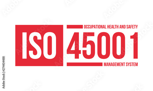 Photo iso 45001 occupational health and safety management system certificate stamp or