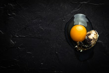 Broken Organic Quail Egg. Fresh Food Concept.