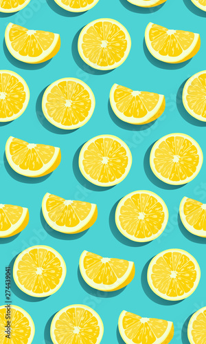 Lemon fruits slice seamless pattern on green blue background. citrus fruits vector illustration.