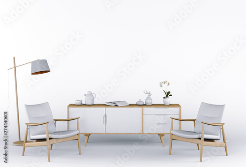 Valokuva  3D render of Studio furniture with armchair, lamp, sideboard