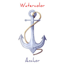 Watercolor Illustration Of Anchor. Blue Anchor With Rope. Watercolor Anchor Isolated On White Backdrop