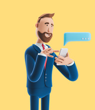 Cartoon Character Send Message From Phone. 3d Illustration On Yellow Background