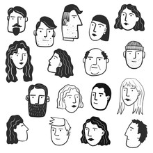 Faces Of People In A Crowd