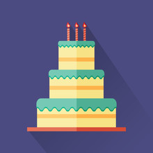 Colorful Three-Tiered Cake Wit...