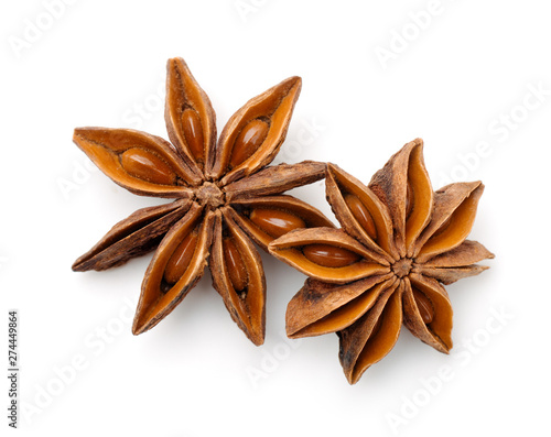 Top view of dry star anise fruits Wallpaper Mural