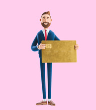 Businessman Billy With Gold Credit Card. 3d Illustration On Pink Background