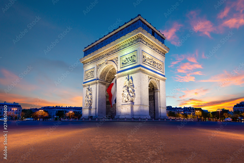 Fototapety, obrazy: Arc de Triomphe de Paris at night in Paris, France.