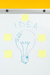 close up view of word idea and light bulb drawn with stickers on white flipchart