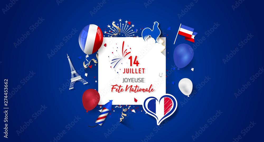 Fototapety, obrazy: Happy Bastille Day (Fête Nationale).