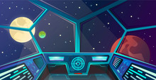 Spaceship Interior Of Captains Bridge In Cartoon Style. Futuristic Command Post. Vector Illustration With Radar, Screen, Hologram, Moon, Mars And Stars. Space Outside Porthole. Cosmos Vector