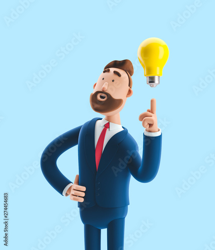 Businessman Billy with yellow bulb. Innovation and inspiration concept. 3d illustration on blue background Wall mural