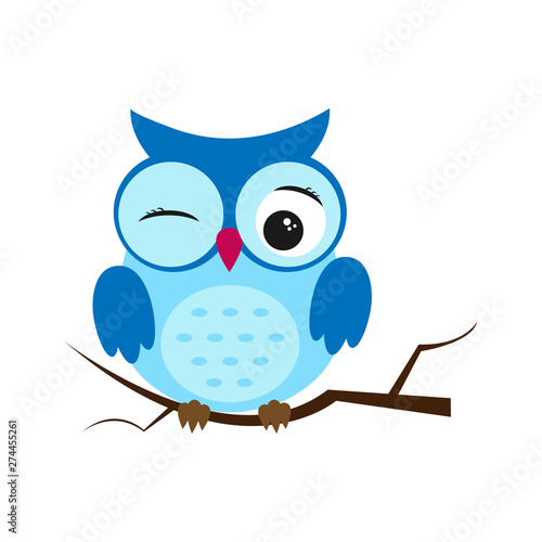 Tuinposter Uilen cartoon Owl night bird with big eyes. Colorful illustration