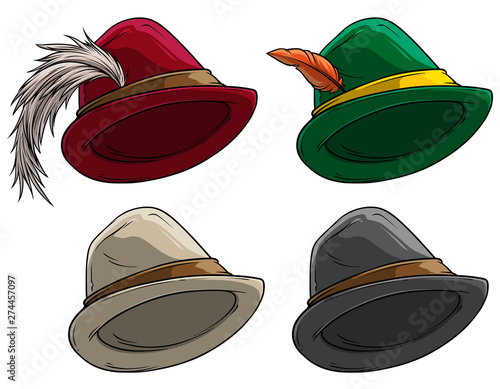 Fotografia Cartoon colorful bavarian traditional hat with feather