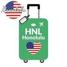 Luggage With Airport Station Code IATA Or Location Identifier And Destination City Name Honolulu, HNL. Travel To The United States Of America Concept. Heart Shaped Flag Of The USA On Baggage.