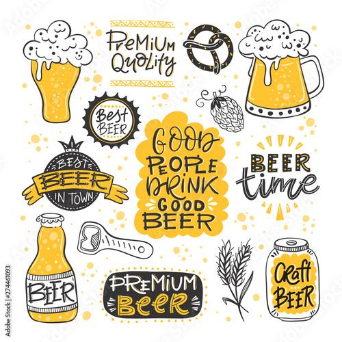 Beer fest hand drawn illustration big vector collection Wallpaper Mural