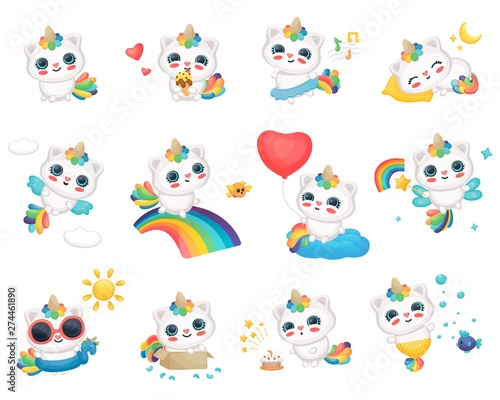 Photographie  Set of caticorn characters, happy cats and unicorns foe stickers or prints, posters or cards