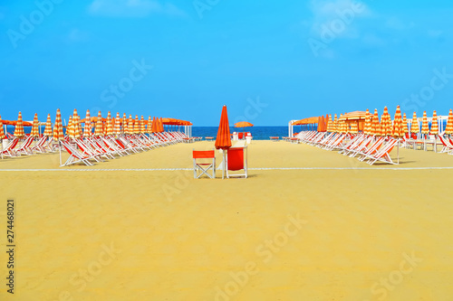 Foto auf Leinwand Orange Beautiful beach of Viareggio, Italy