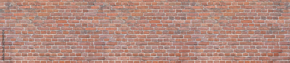 Fototapeta Old red brick wall background. Panoramic wide texture