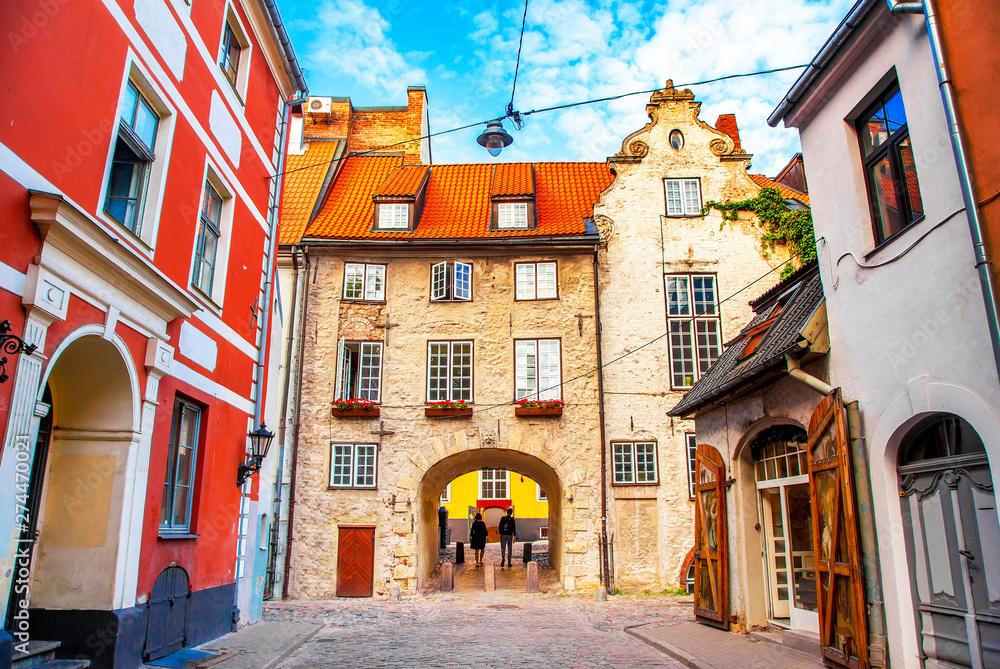 Fototapeta Swedish Gate medieval part of Riga old town, Latvia