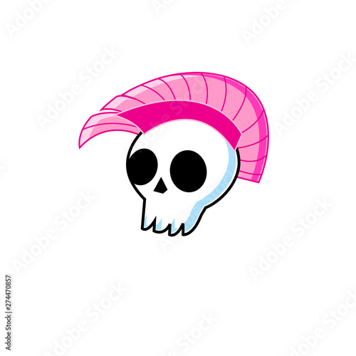 Vászonkép  Vector funny symbol white skull with punk mohawk