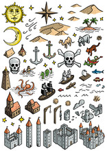 Fantasy Map Elements Illustrat...