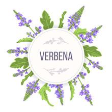 Verbena Round Circle Badge. Le...