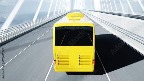 Obraz na plátně  3d model of tourist bus on bridge