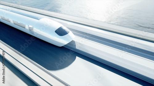 Pinturas sobre lienzo  3d model of futuristic passenger train on the bridge