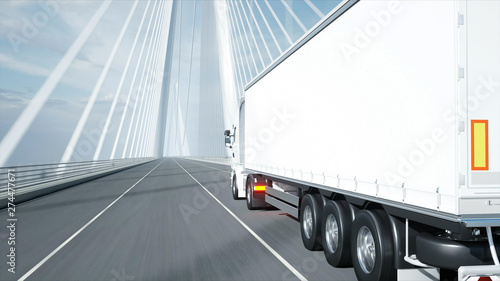 3d model of white truck on the bridge. 3d rendering. Canvas Print
