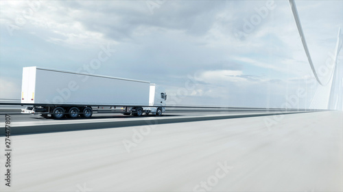 3d model of white truck on the bridge. 3d rendering. Wallpaper Mural