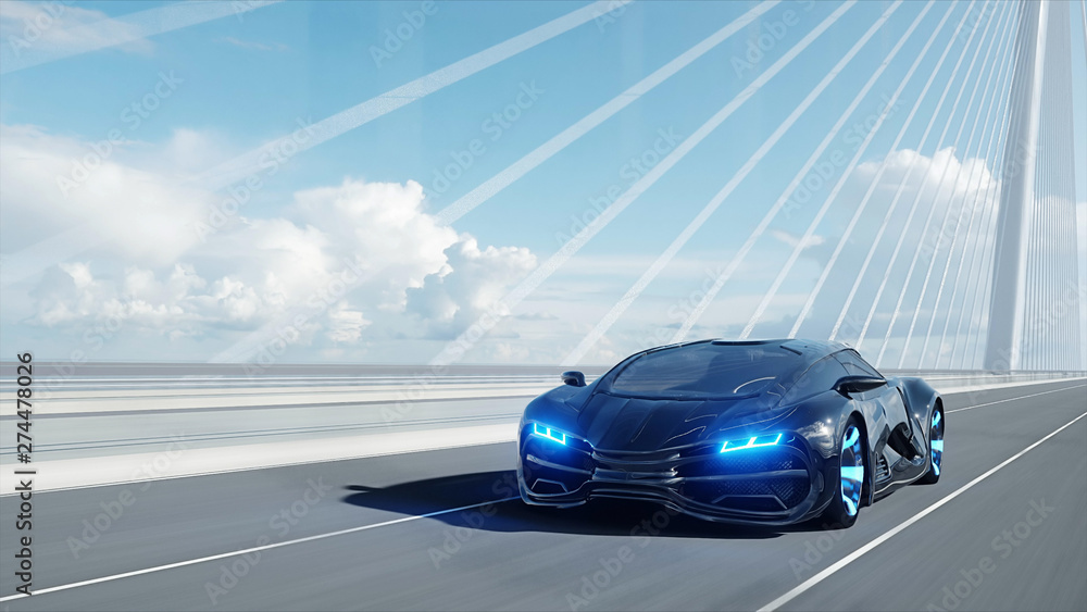 Fototapety, obrazy: 3d model of black futuristic car on the bridge. Very fast driving. Concept of future. 3d rendering.
