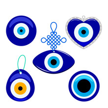 Turkish Traditional Set Of Blue Glassy Boncuk Mascot. Symbol From Evil Eye Isolated On White Background. Flat Vector
