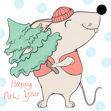 Mouse In A Hat And A Waistcoat Holds A Christmas Tree And Smiles. Greeting Card For New Year And Christmas.