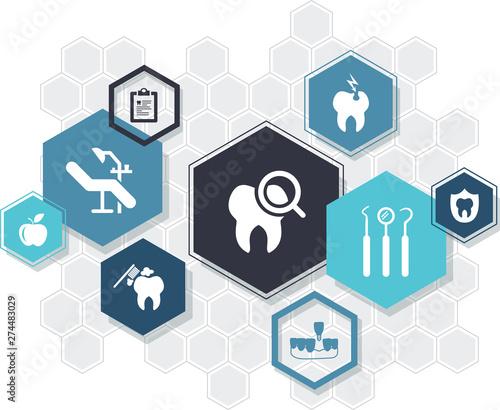 Fotografia  dental care / dentistry / oral hygiene / dental treatment icon concept: connecte