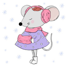 Cute Mouse In Warm Clothes. Greeting Card For New Year And Christmas.