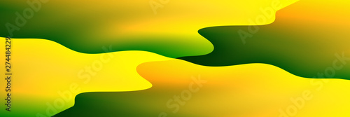 Foto auf Leinwand Gelb Digital Art, panoramic abstract three-dimensional objects with soft lighting, Germany