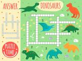 Fototapeta Dinusie - Vector dinosaur crossword. Bright and colorful quiz for children. Puzzle activity with Pterodactyl, Stegosaurus, Tyrannosaurus, Parasaurolophus, Triceratops, Protoceratops, Diplodocus, T-Rex..
