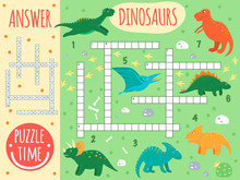 Vector Dinosaur Crossword. Bright And Colorful Quiz For Children. Puzzle Activity With Pterodactyl, Stegosaurus, Tyrannosaurus, Parasaurolophus, Triceratops, Protoceratops, Diplodocus, T-Rex..