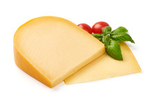 Hard Dutch Gouda Cheese, Close-up, Isolated On White Background