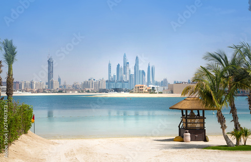 Dubai skyscrapers cityscape view from the Jumeirah island Canvas Print