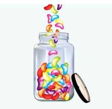 Colorfukl Tasty Jellybeans In A Jar On White Background