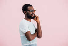 Happy African American Of Man In Sunglasses, Isolated On Pink