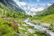 Fantastische Naturlandschaft mit Gebirgsbach und Gletscher in den österreichischen Alpen