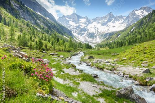 Vászonkép  Fantastische Naturlandschaft mit Gebirgsbach und Gletscher in den österreichisch