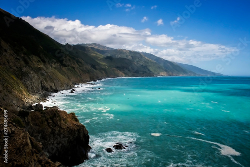 Printed kitchen splashbacks South Africa California Seascape on Highway 1 with Sunlight on Turquoise Ocean