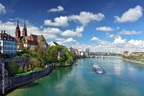 Old town with Basler Muenster Cathedral on the banks of the Rhine river Wallpaper Mural