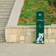 Clean After Your Dog. Green Dog Waste Container In A Park