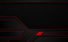 Red Black Metallic Frame Layout Design Tech Sports Concept Abstract Background.  Vector  Illustration