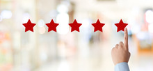 Man Hand Pointing Red Five Star Over Blur Background, Customer Excellent Rating Satisfacation, Customer Feedback, Business Concept Banner