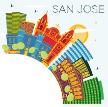 San Jose Costa Rica City Skyline With Color Buildings, Blue Sky And Copy Space.
